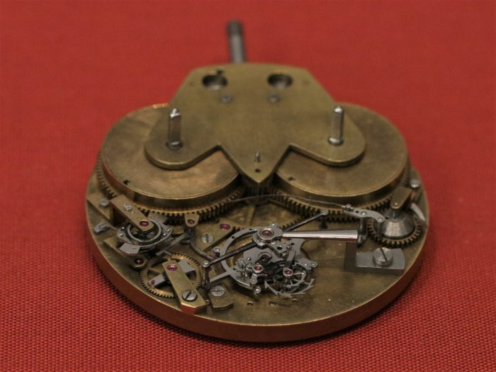 Unfinished tourbillon movement by George Daniels c2011 in the Clockmakers' Museum, the Science Museum, London
