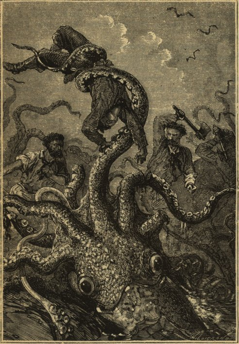 An illustration from the original edition of Twenty Thousand Leagues Under the Sea depicting a giant squid
